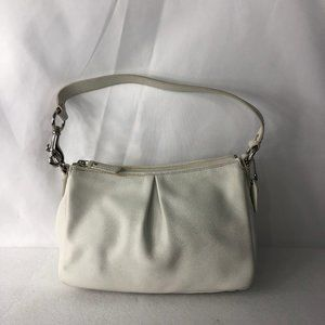 COACH White Soft LEATHER HOBO BAGUETTE BAG